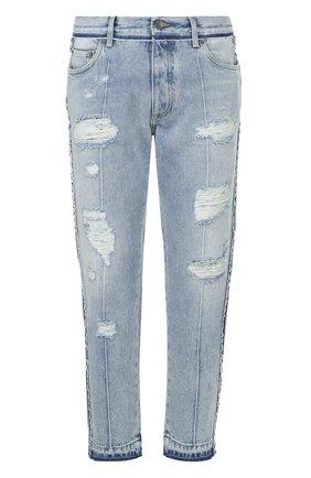 Укороченные джинсы с потертостями Dolce & Gabbana синие | Фото №1