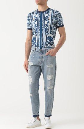 Укороченные джинсы с потертостями Dolce & Gabbana синие | Фото №2