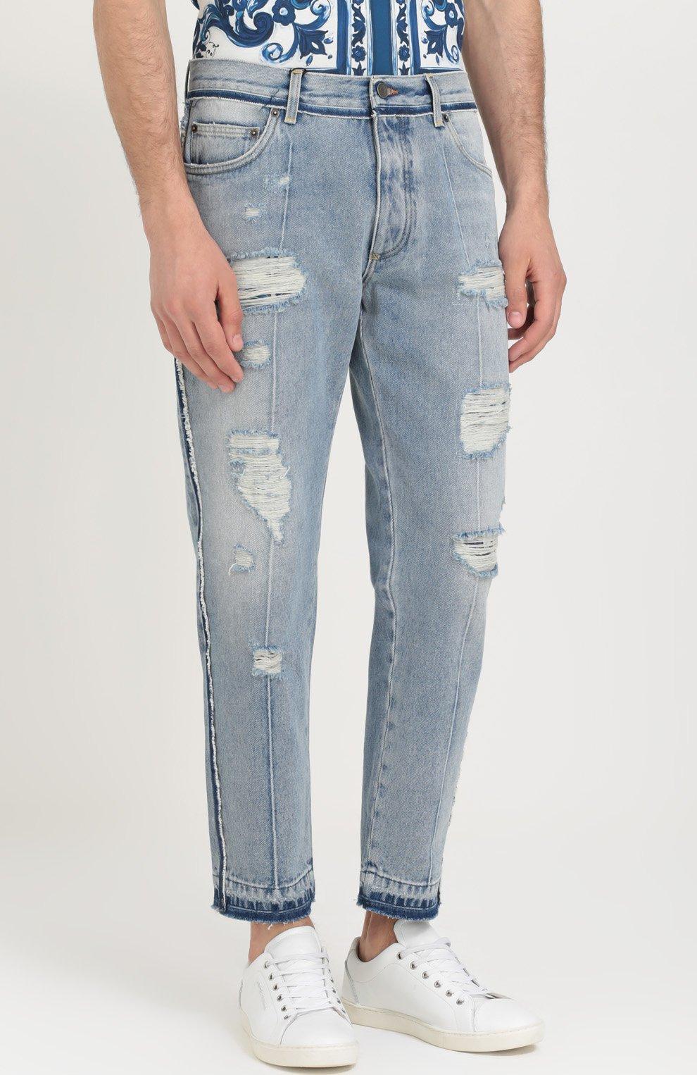 Укороченные джинсы с потертостями Dolce & Gabbana синие | Фото №3