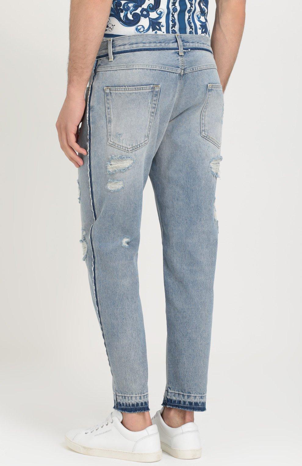Укороченные джинсы с потертостями Dolce & Gabbana синие | Фото №4