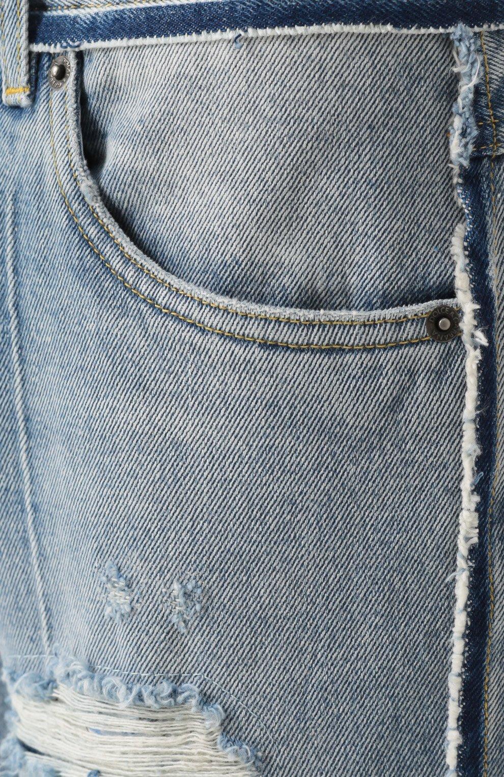 Укороченные джинсы с потертостями Dolce & Gabbana синие | Фото №5