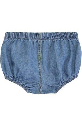 Хлопковые шорты с эластичными вставками Sticky-Fudge синего цвета   Фото №1