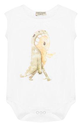 Хлопковый боди с принтом Sticky-Fudge белого цвета   Фото №1