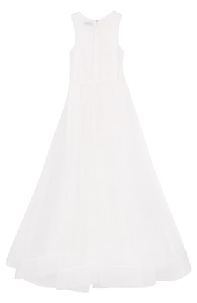 Детское платье-макси с аппликациями Little Miss Aoki белого цвета   Фото №1