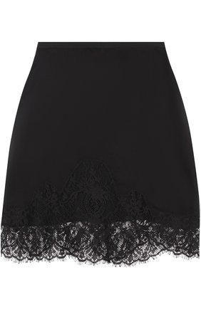 Мини-юбка с кружевной отделкой Francesco Scognamiglio черная | Фото №1