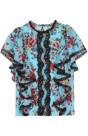 Шелковый топ с оборками и цветочным принтом Dolce & Gabbana синий | Фото №1