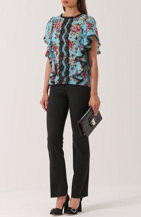 Шелковый топ с оборками и цветочным принтом Dolce & Gabbana синий | Фото №2