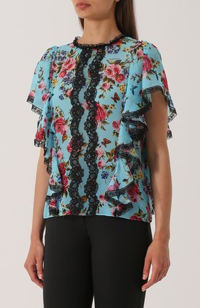 Шелковый топ с оборками и цветочным принтом Dolce & Gabbana синий | Фото №3
