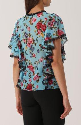 Шелковый топ с оборками и цветочным принтом Dolce & Gabbana синий | Фото №4