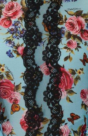 Шелковый топ с оборками и цветочным принтом Dolce & Gabbana синий | Фото №5