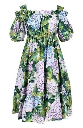 Мини-платье с открытыми плечами и цветочным принтом Dolce & Gabbana зеленое | Фото №1