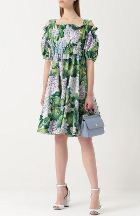 Мини-платье с открытыми плечами и цветочным принтом Dolce & Gabbana зеленое | Фото №2