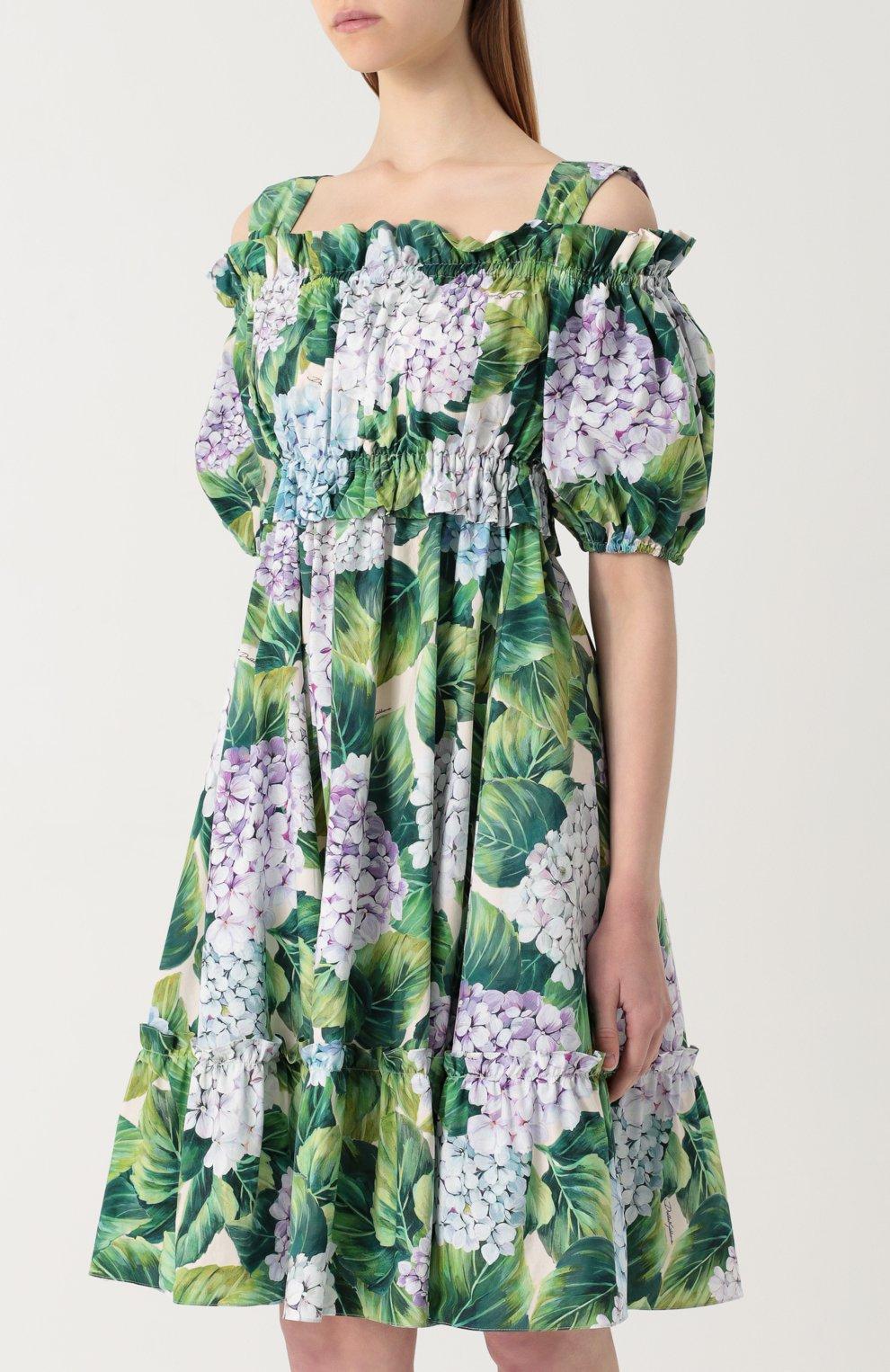 Мини-платье с открытыми плечами и цветочным принтом Dolce & Gabbana зеленое | Фото №3