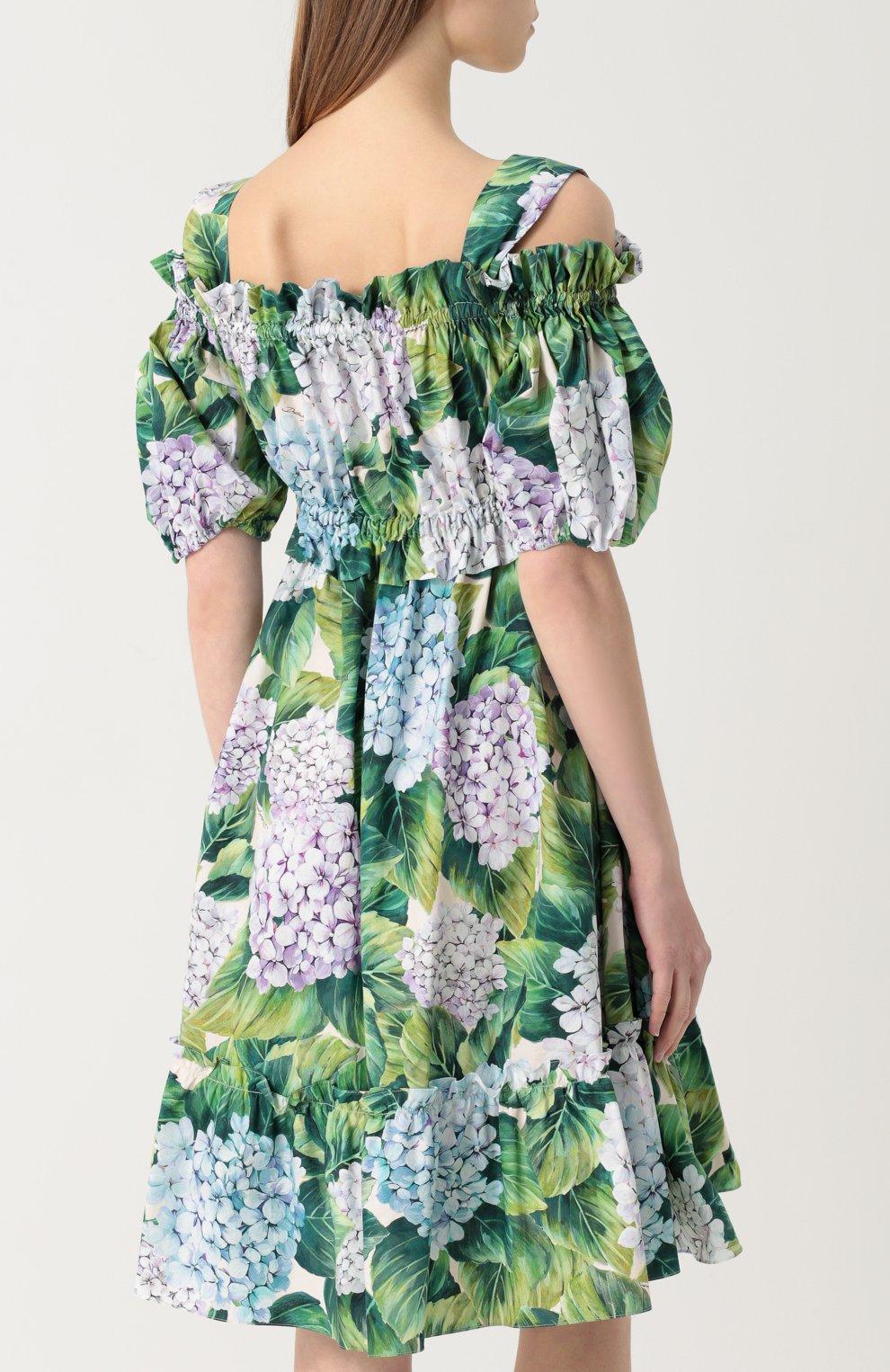 Мини-платье с открытыми плечами и цветочным принтом Dolce & Gabbana зеленое | Фото №4