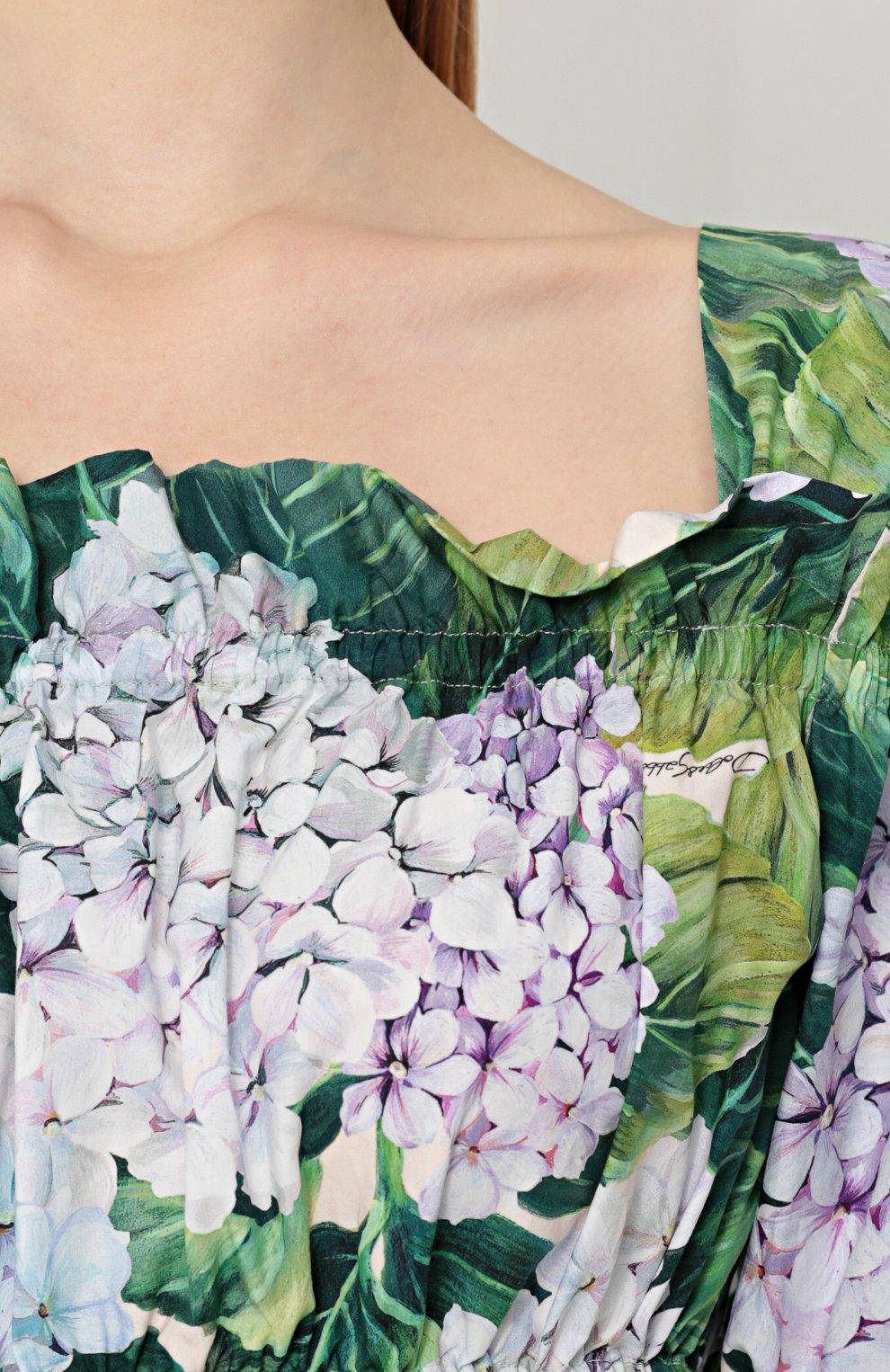 Мини-платье с открытыми плечами и цветочным принтом Dolce & Gabbana зеленое | Фото №5