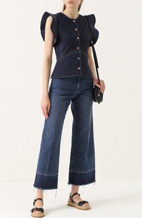 Укороченные расклешенные джинсы с потертостями Rachel Comey белые | Фото №1