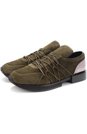 Замшевые кроссовки с вставкой из металлизированной кожи A.F.Vandevorst хаки | Фото №1