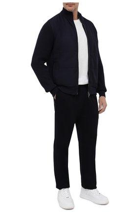 Мужской шерстяные брюки прямого кроя с поясом на резинке Z ZEGNA темно-синего цвета, арт. V8475ZZTP60   Фото 2