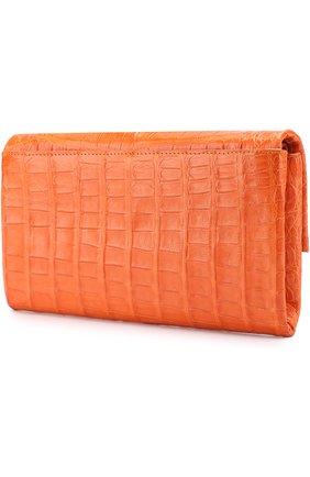 Клатч из кожи каймана Nancy Gonzalez оранжевого цвета | Фото №1