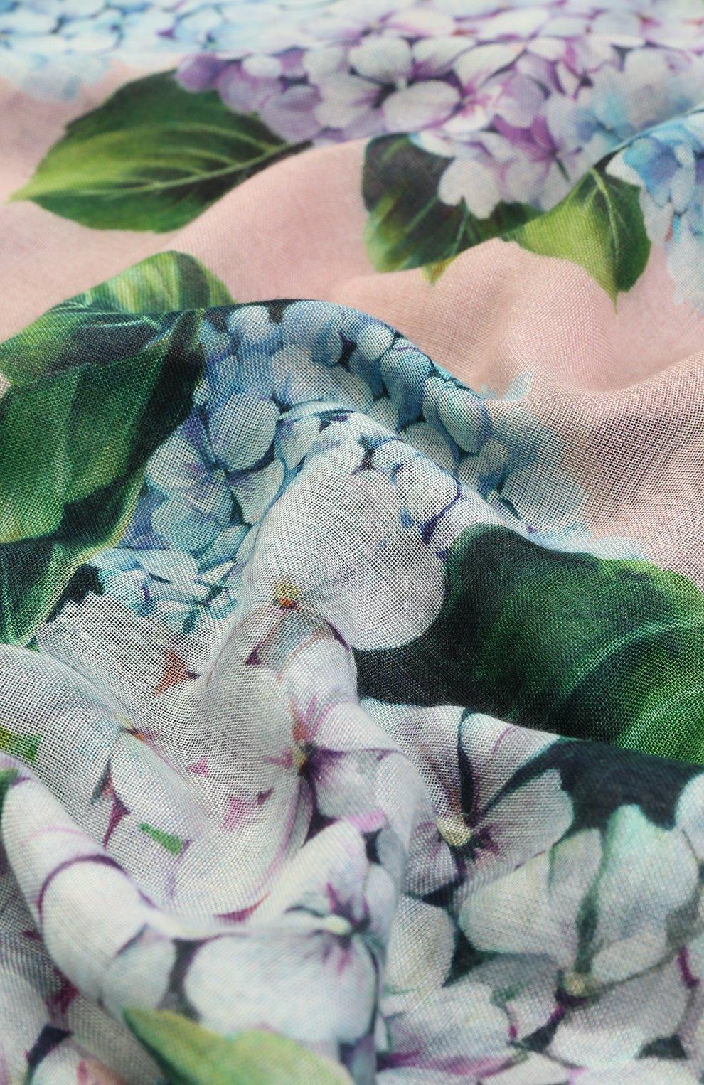 Шарф из смеси кашемира и шелка с принтом Dolce & Gabbana розовый | Фото №2