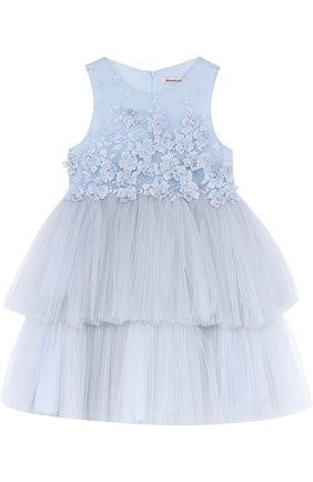 Детское многослойное мини-платье с аппликациями Little Miss Aoki голубого цвета   Фото №1