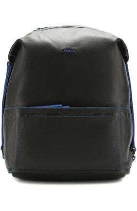 Кожаный рюкзак с внешним карманом на молнии