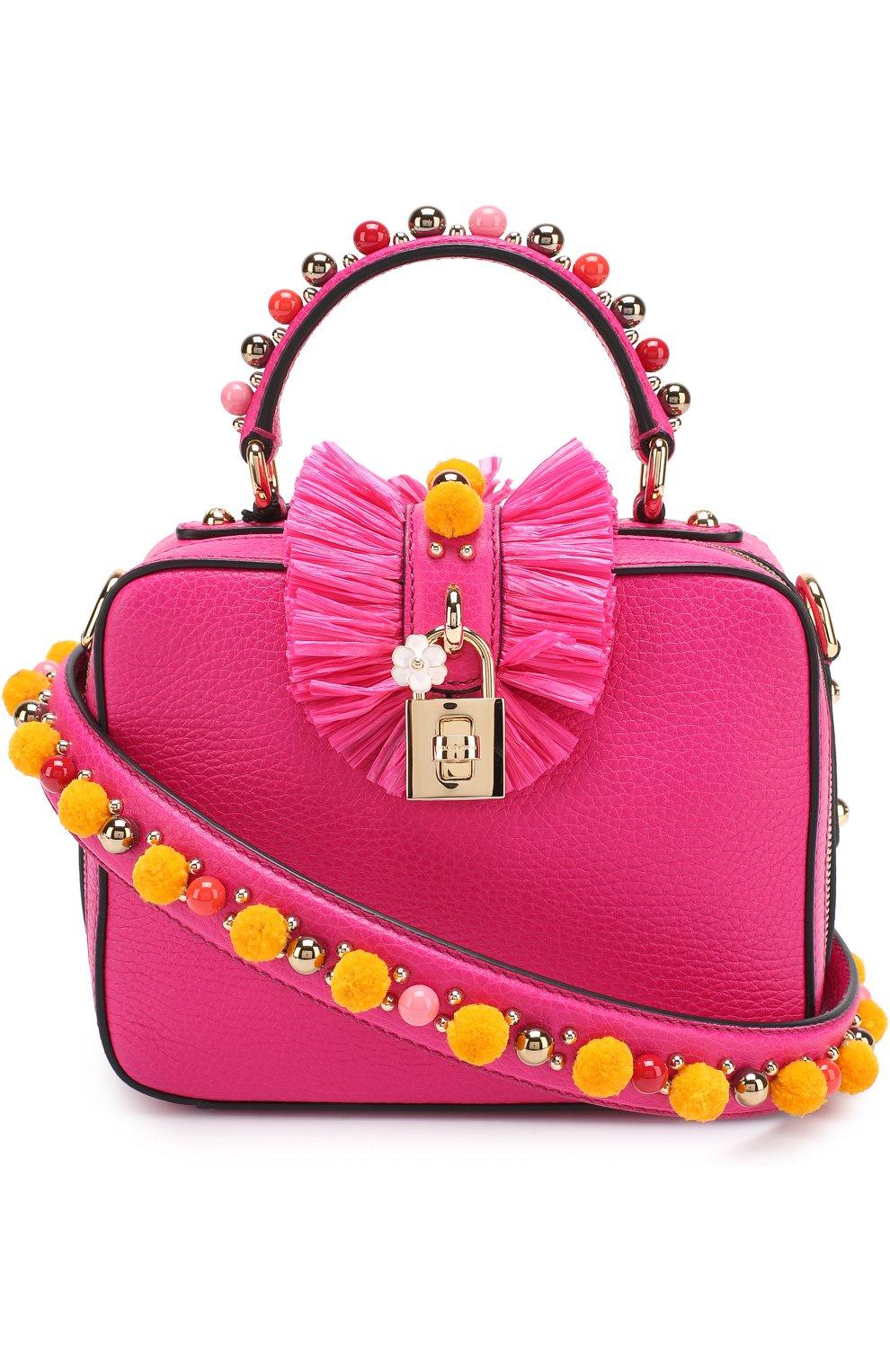 Сумка Dolce Soft с декором Dolce & Gabbana фуксия цвета | Фото №4