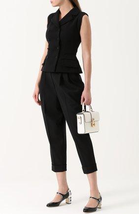 Кожаные туфли Vally с декоративной отделкой Dolce & Gabbana черные   Фото №2