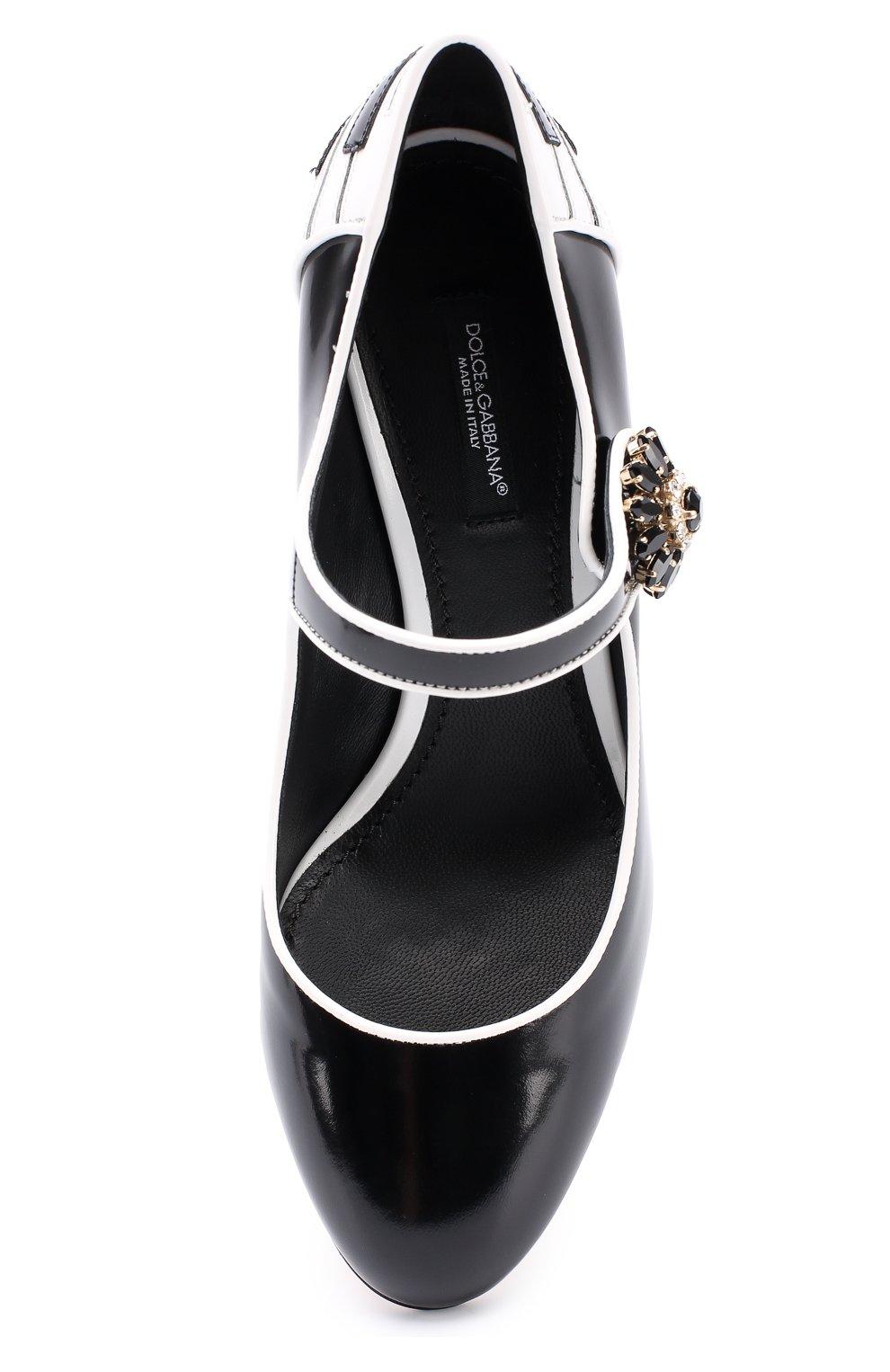 Кожаные туфли Vally с декоративной отделкой Dolce & Gabbana черные   Фото №5