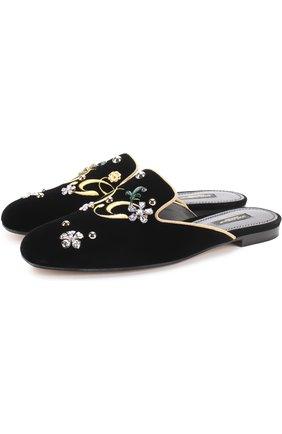 Бархатные сабо с вышивкой и кристаллами Dolce & Gabbana черные   Фото №1