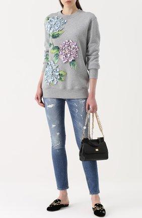 Бархатные сабо с вышивкой и кристаллами Dolce & Gabbana черные   Фото №2