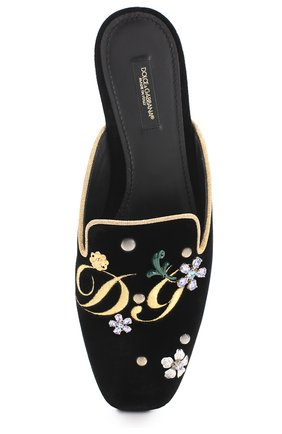Бархатные сабо с вышивкой и кристаллами Dolce & Gabbana черные   Фото №5