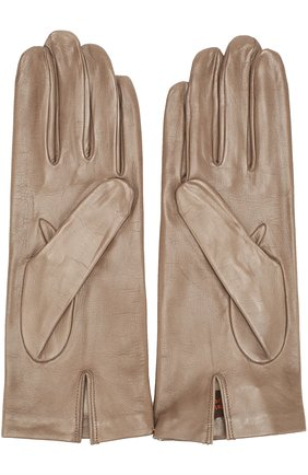 Кожаные перчатки Sermoneta Gloves бежевые   Фото №1