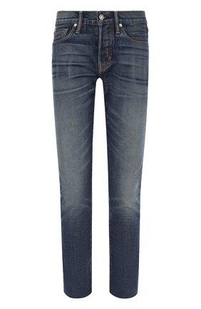 Мужские джинсы прямого кроя с потертостями  TOM FORD голубого цвета, арт. BMJ11TFD001 | Фото 1