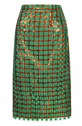 Юбка-миди с пайетками и вышивкой Marco de Vincenzo зеленая | Фото №1