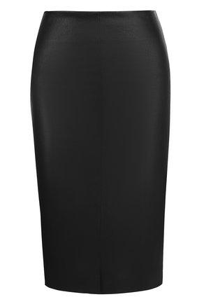 Кожаная юбка-карандаш с разрезом | Фото №1