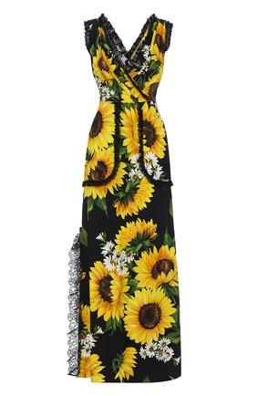 Приталенное платье-макси с цветочным принтом Dolce & Gabbana желтое | Фото №1