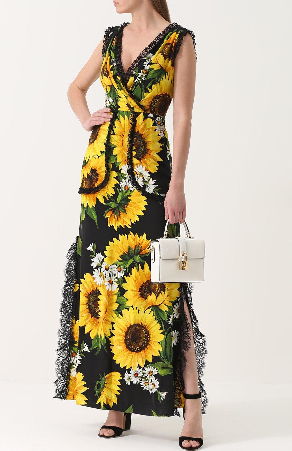 Приталенное платье-макси с цветочным принтом Dolce & Gabbana желтое | Фото №2
