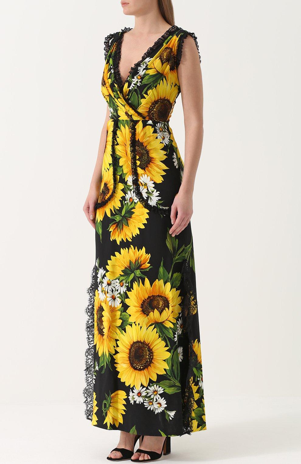 Приталенное платье-макси с цветочным принтом Dolce & Gabbana желтое | Фото №3
