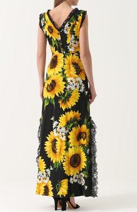 Приталенное платье-макси с цветочным принтом Dolce & Gabbana желтое | Фото №4