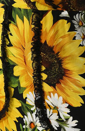 Приталенное платье-макси с цветочным принтом Dolce & Gabbana желтое | Фото №5