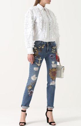 Джинсы прямого кроя с декоративной отделкой Dolce & Gabbana синие | Фото №2