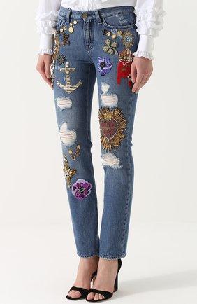 Джинсы прямого кроя с декоративной отделкой Dolce & Gabbana синие | Фото №3