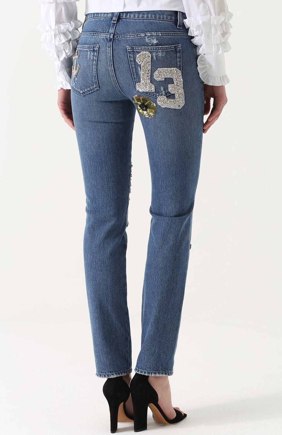 Джинсы прямого кроя с декоративной отделкой Dolce & Gabbana синие | Фото №4