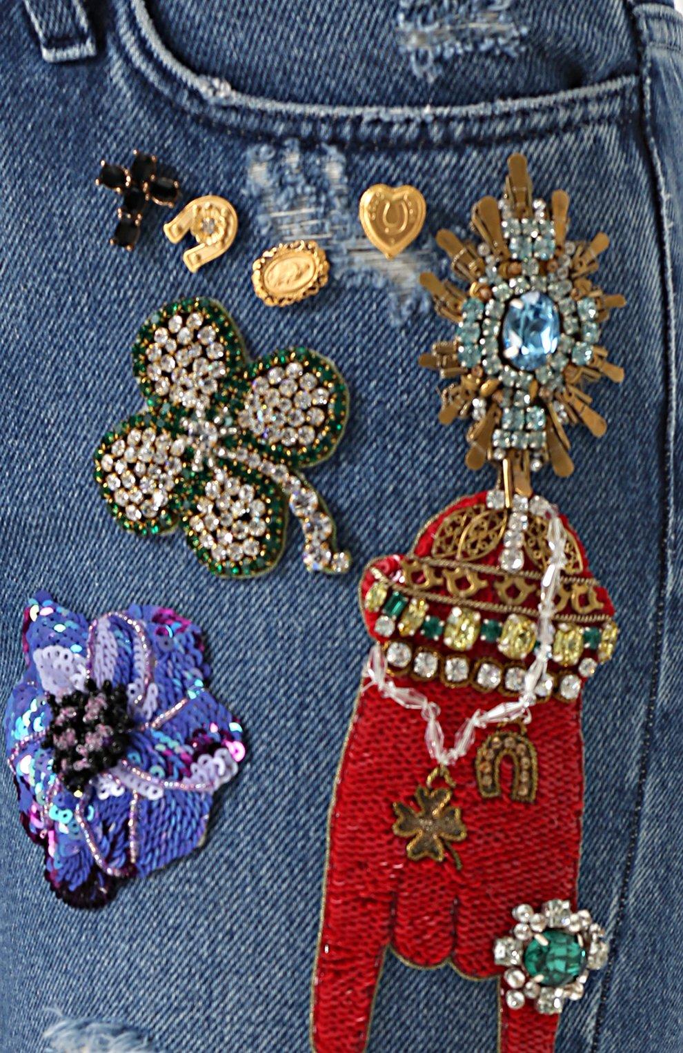 Джинсы прямого кроя с декоративной отделкой Dolce & Gabbana синие | Фото №5