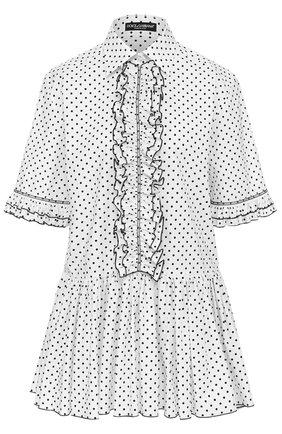 Блуза в горох с оборками и баской Dolce & Gabbana белая | Фото №1