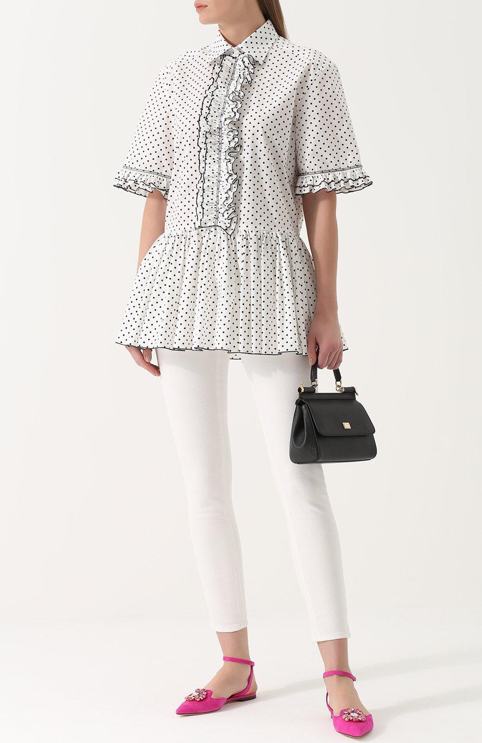 Блуза в горох с оборками и баской Dolce & Gabbana белая | Фото №2