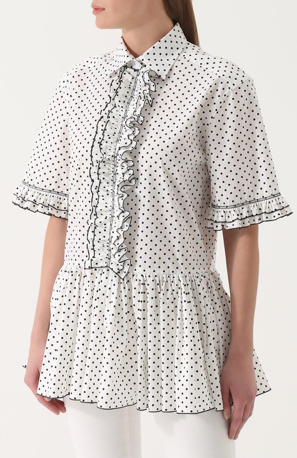 Блуза в горох с оборками и баской Dolce & Gabbana белая | Фото №3