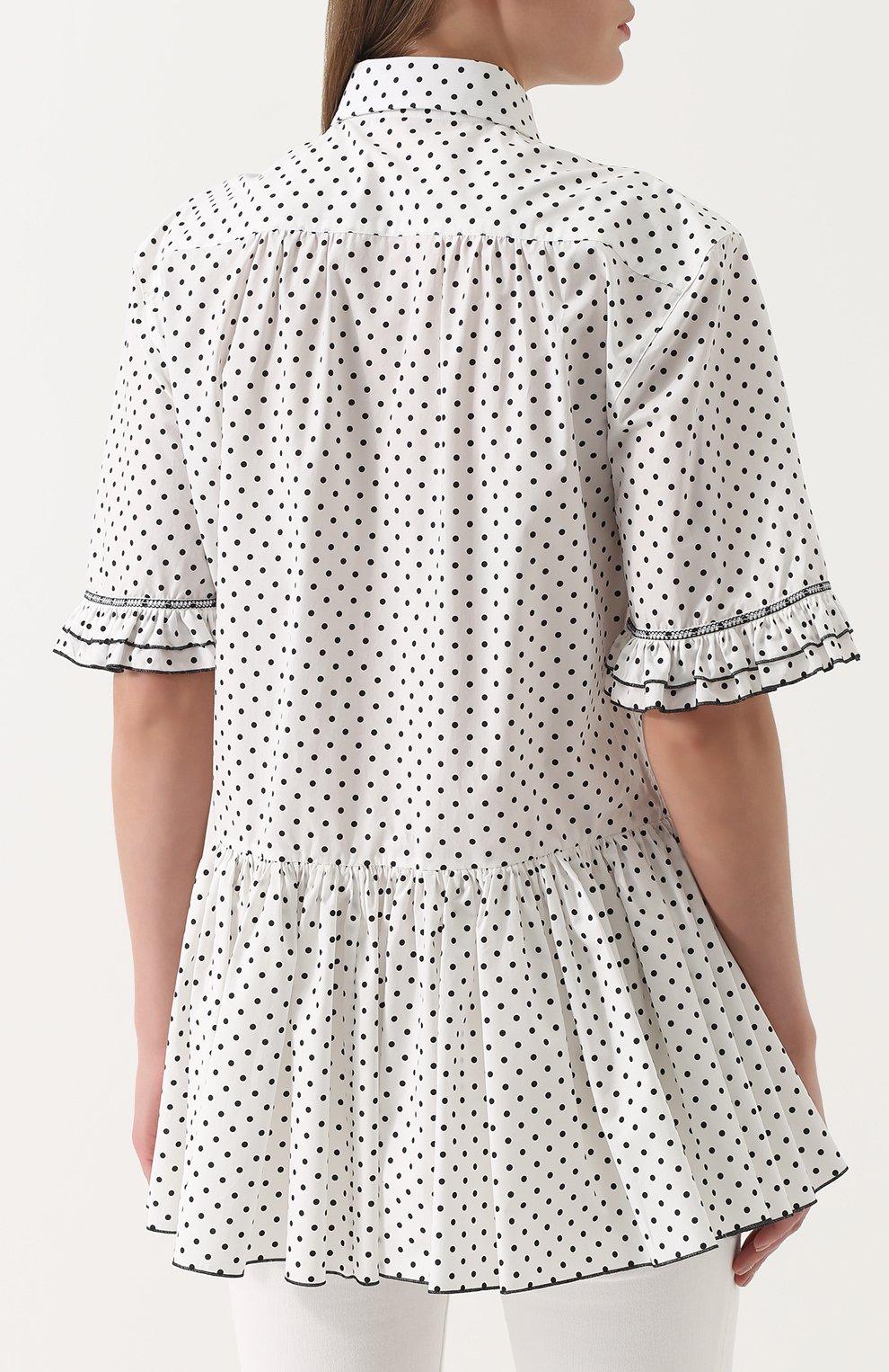 Блуза в горох с оборками и баской Dolce & Gabbana белая | Фото №4