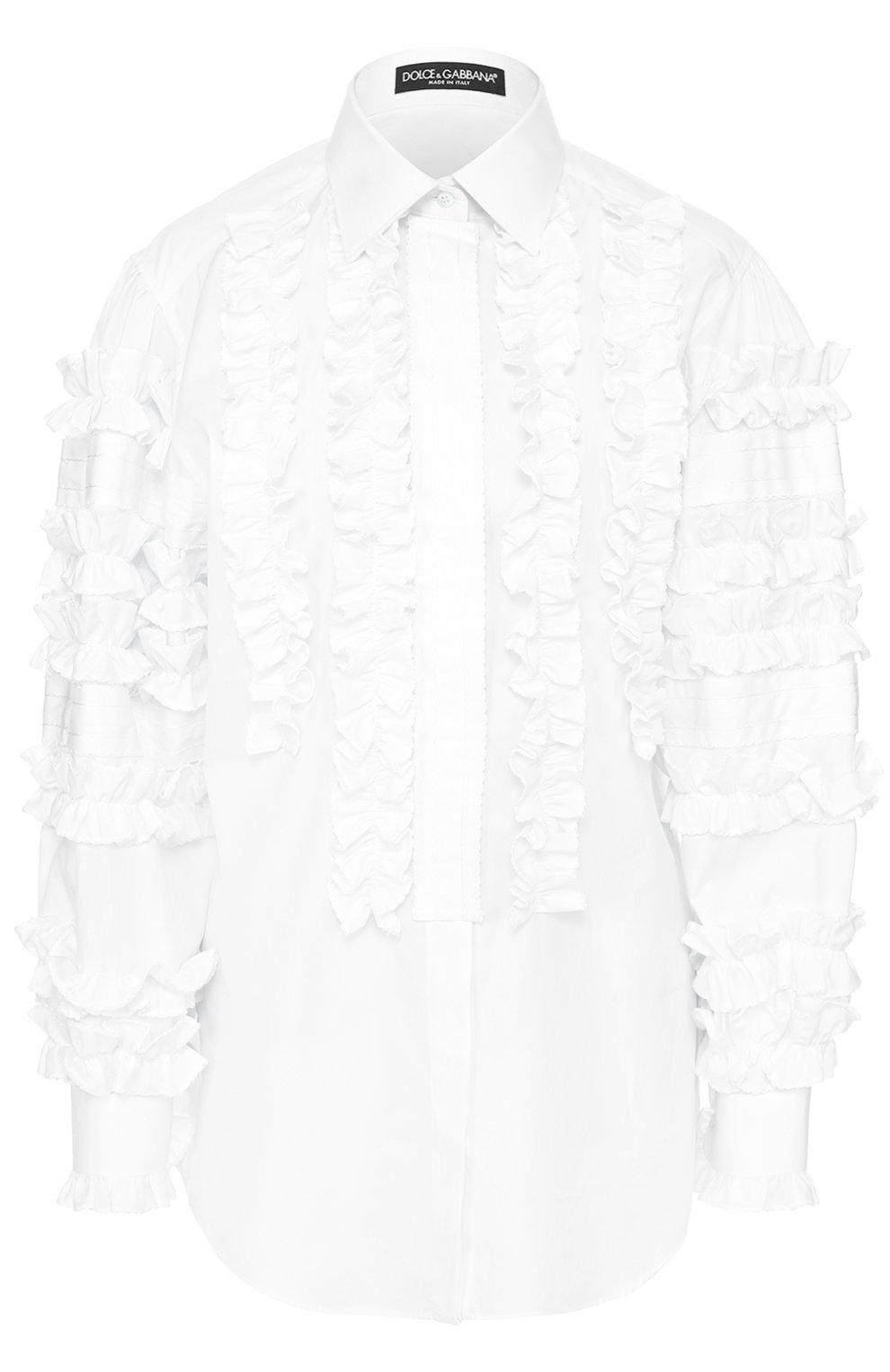 Приталенная хлопковая блуза с оборками | Фото №1